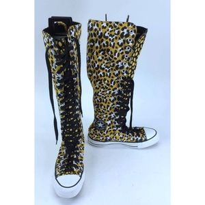 Converse Yellow Cheetah Lace Up Knee High Sneakers